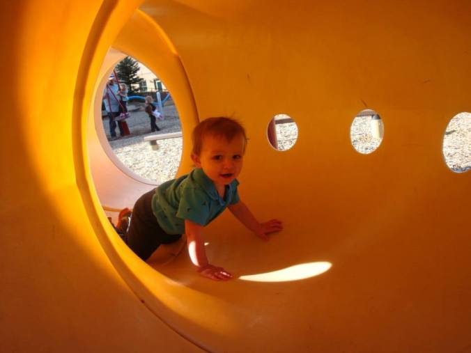 Boe's favorite part of the day, getting to play inside the tunnel.